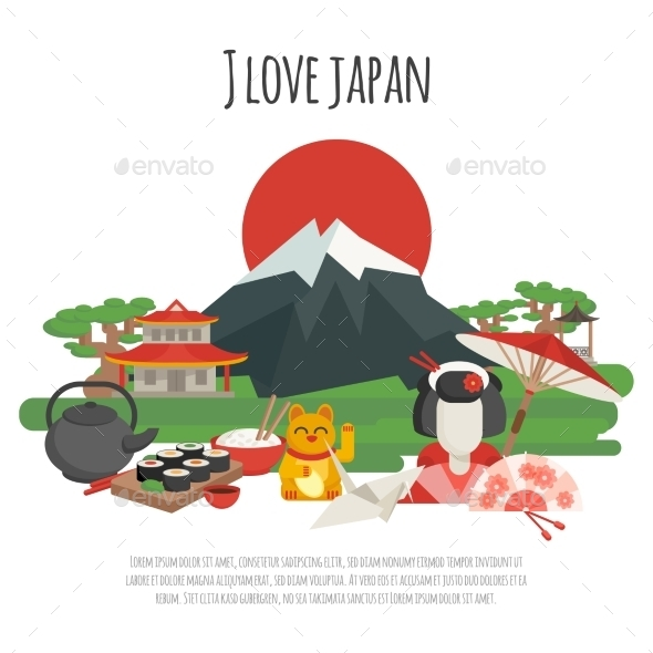 GraphicRiver Japanese Tradition Symbols Poster 11925839