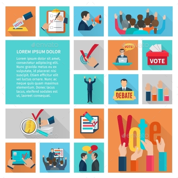 GraphicRiver Elections Flat Icons Set 11925845