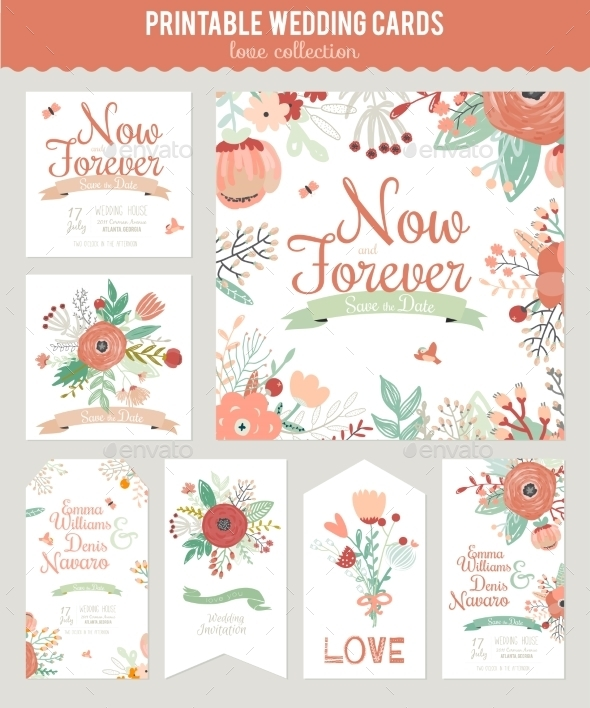 GraphicRiver Vintage Floral Save The Date Invitation 11925887