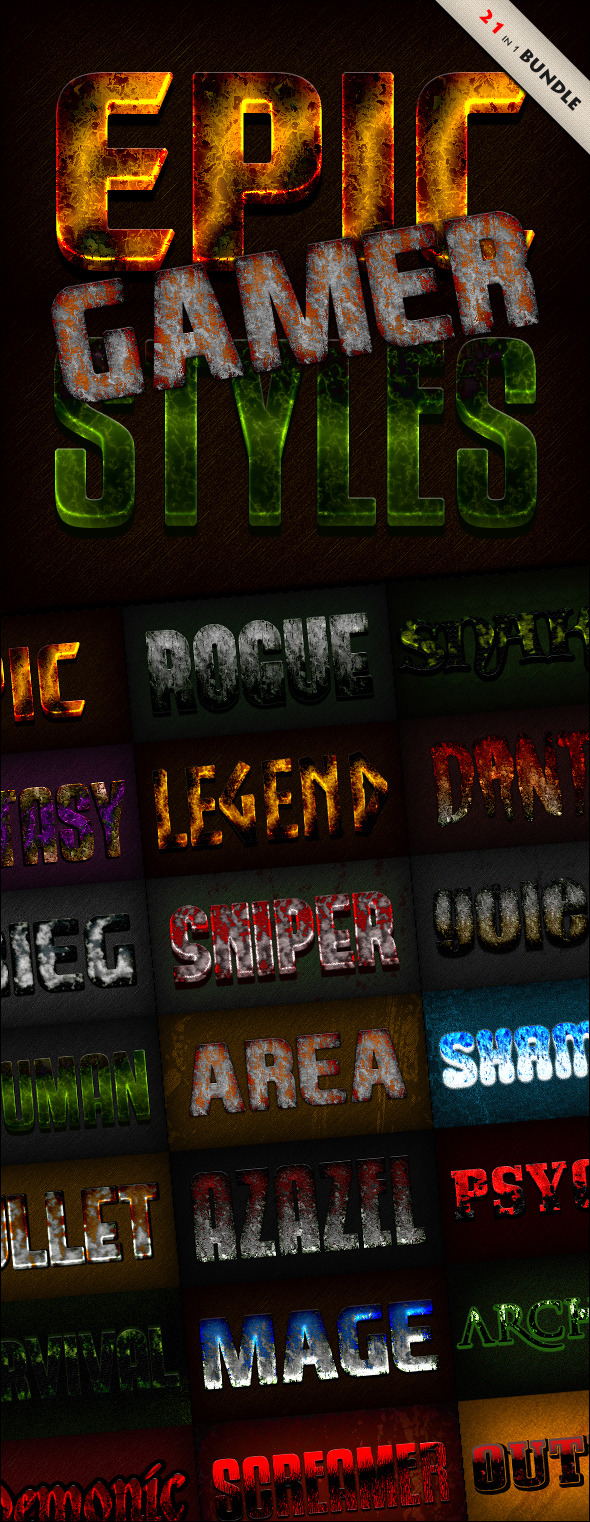 GraphicRiver Photoshop Text Styles Bundle Epic Gamer Pack 11920258