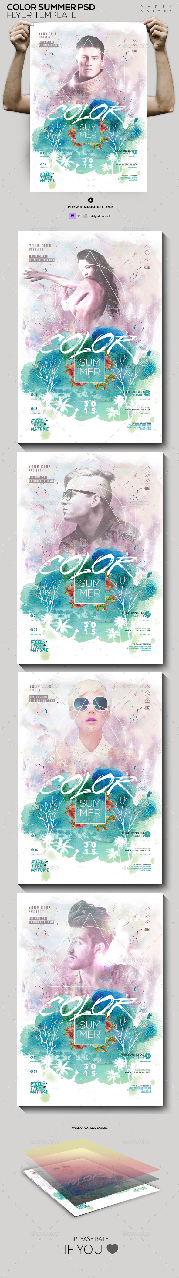 GraphicRiver Summer Colors PSD Flyer Poster Template 11925998