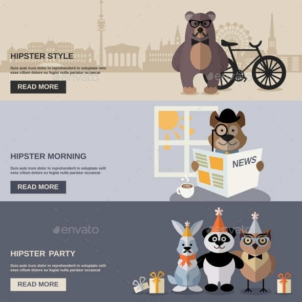 GraphicRiver Animal Hipster Banner Set 11926003