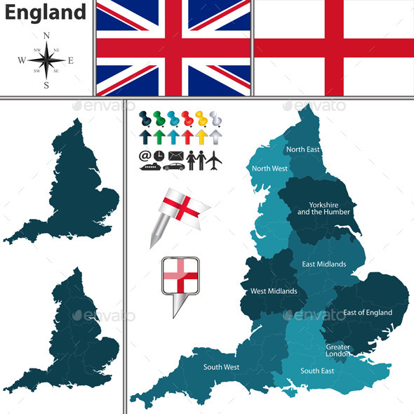 GraphicRiver Map of England with Regions 11926018