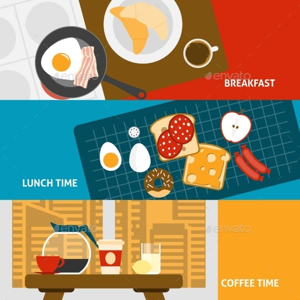 GraphicRiver Breakfast Banners Set 11926019