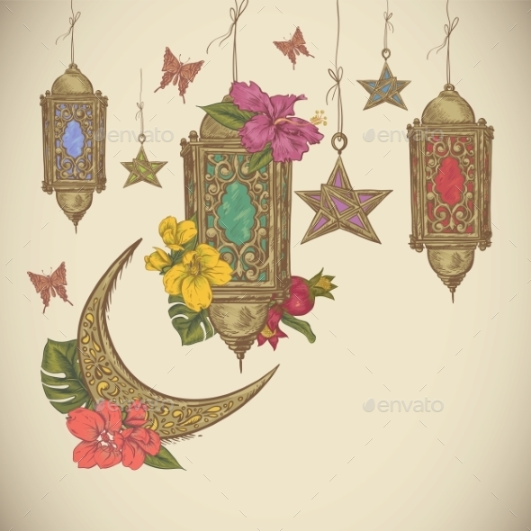 GraphicRiver Traditional Greeting Card With Arabic Lantern 11926045