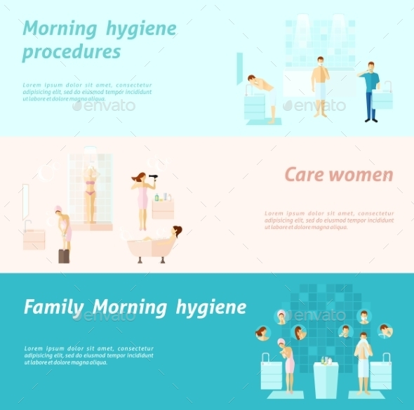 GraphicRiver Morning Family And Woman Hygiene Banner 11926059