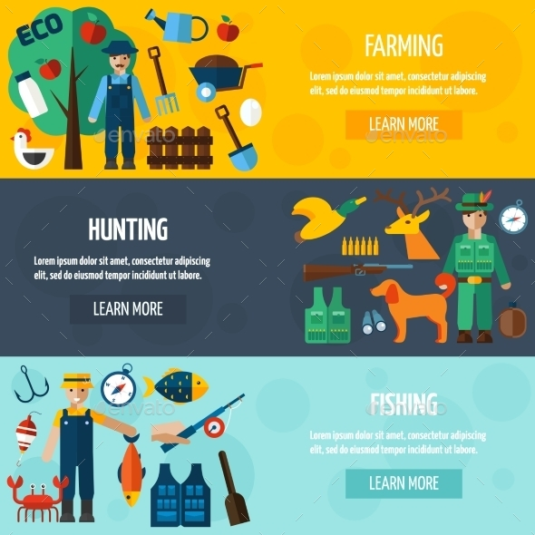 GraphicRiver Fisherman Hunting And Farmer Banner Set 11926082