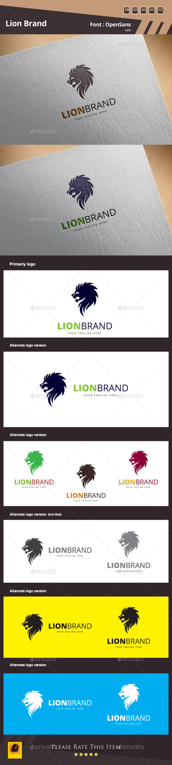 GraphicRiver Lion Brand Logo Template 11926109