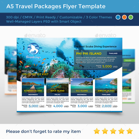 GraphicRiver A5 Travel Packages Flyer 11926454