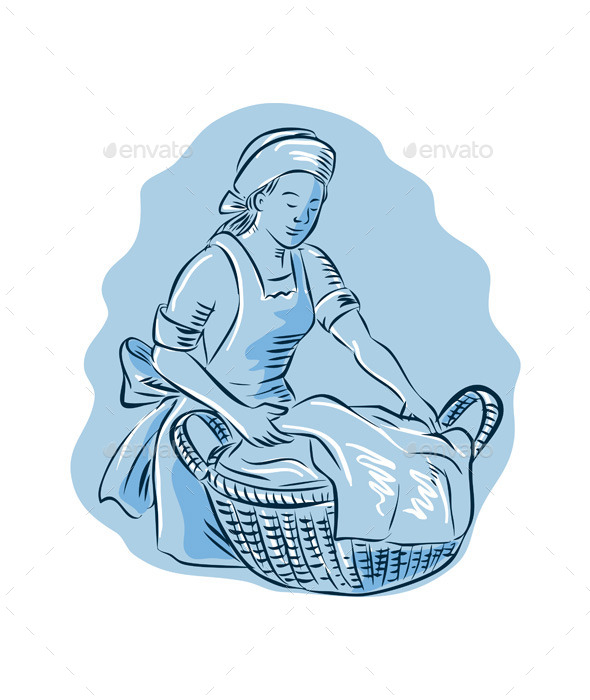 GraphicRiver Laundry Maid Basket Vintage Etching 11926549