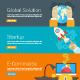 Flat Design Concept for Global Solution, Startup and E-Commerce - GraphicRiver Item for Sale