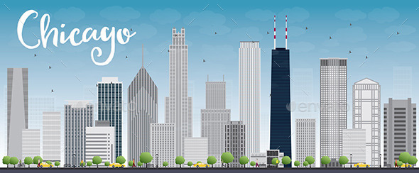 GraphicRiver Chicago City Skyline with Grey Skyscrapers and Blu 11927526