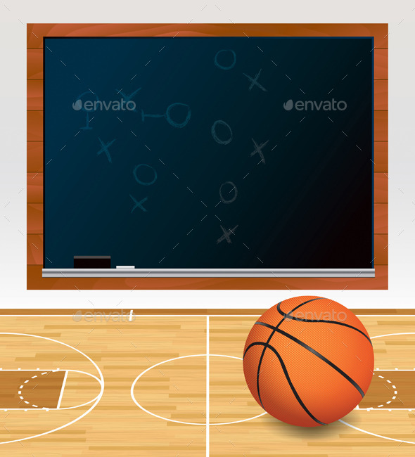 GraphicRiver Vector Basketball Chalkboard on Court Illustration 11928097