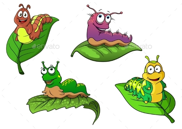 GraphicRiver Cheerful Cartoon Caterpillars Characters 11928124