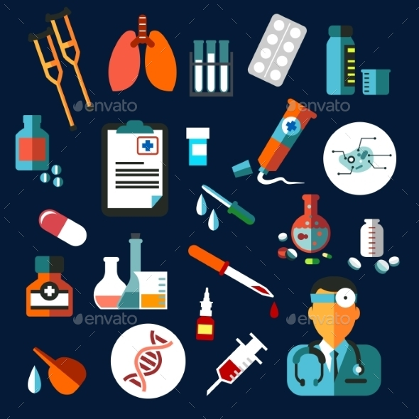GraphicRiver Medical Flat Icons With Medication And Diagnostics 11928219