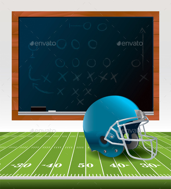 GraphicRiver Vector American Football Helmet and Chalkboard 11928228