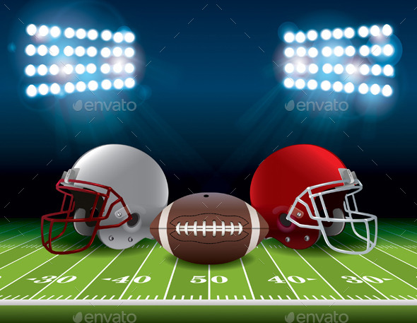 GraphicRiver American Football Field with Helmets and Ball 11928254