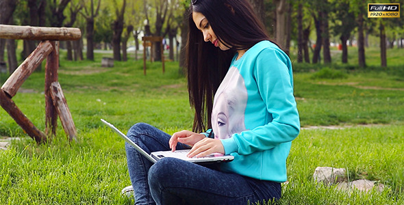 Student Using The Laptop