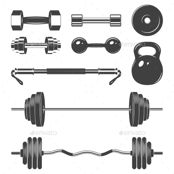 GraphicRiver Set Of Sign Weights For Fitness Or Gym Design 11928544