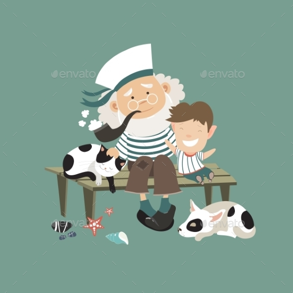 GraphicRiver Old Sailor Sitting On Bench With Grandson 11928692