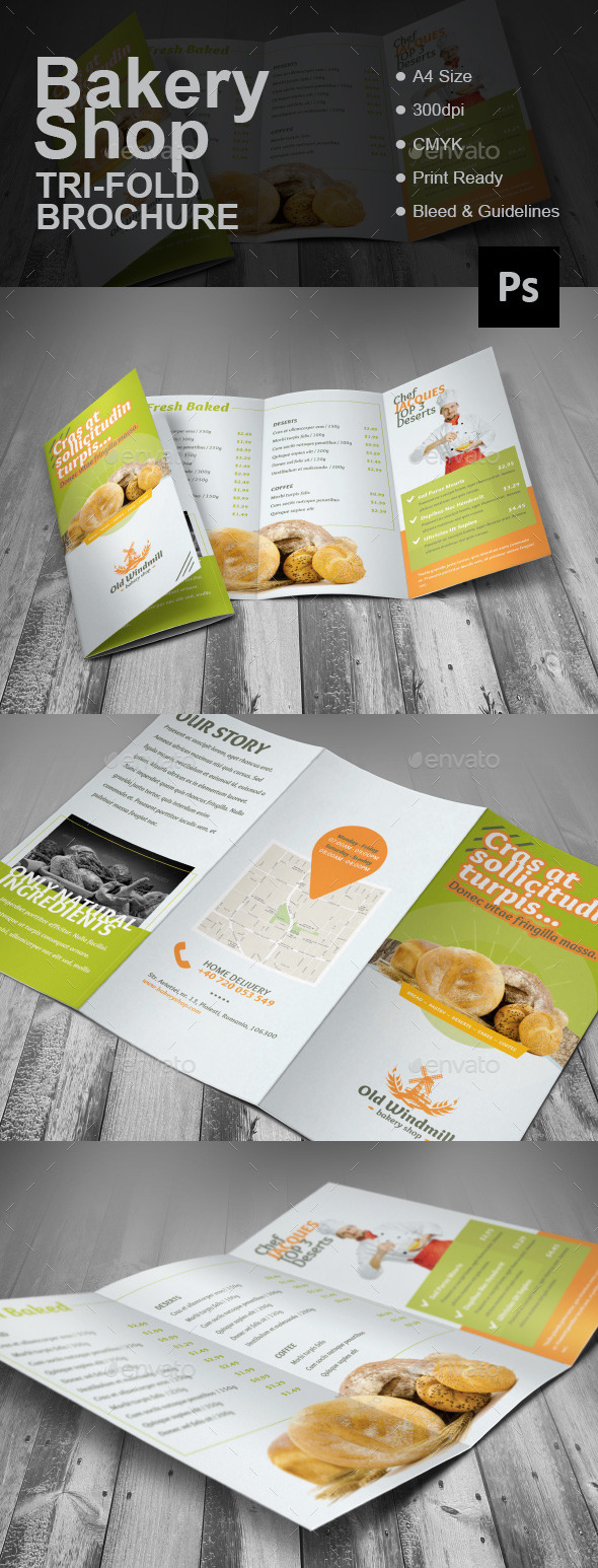 GraphicRiver Bakery Shop Tri-fold Brochure 11928939