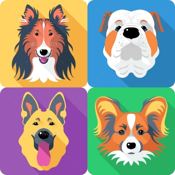 GraphicRiver Set Dog Head Icon Flat Design 11929111