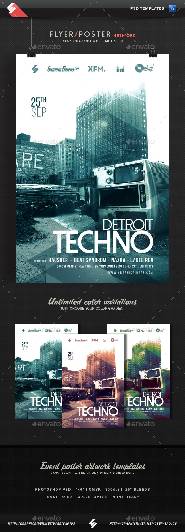 GraphicRiver Detroit Techno Event Flyer Template 11926026