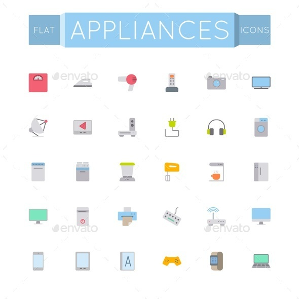 GraphicRiver Flat Appliances Icons 11929604