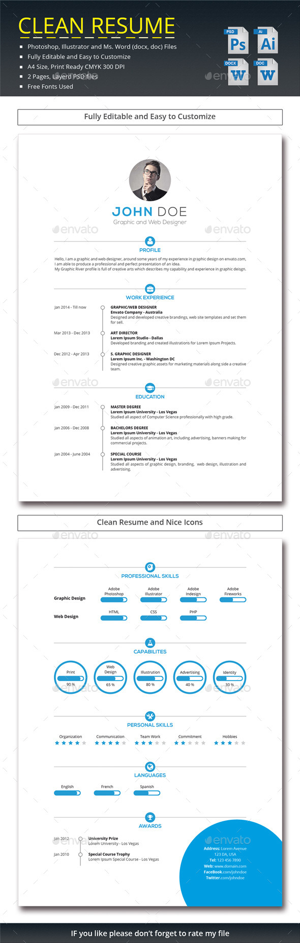 GraphicRiver Clean Resume 11929607