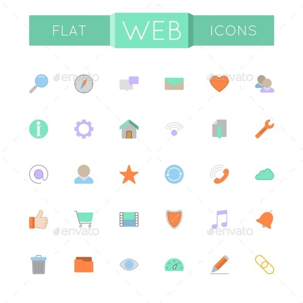 GraphicRiver Vector Flat Web Icons 11929612