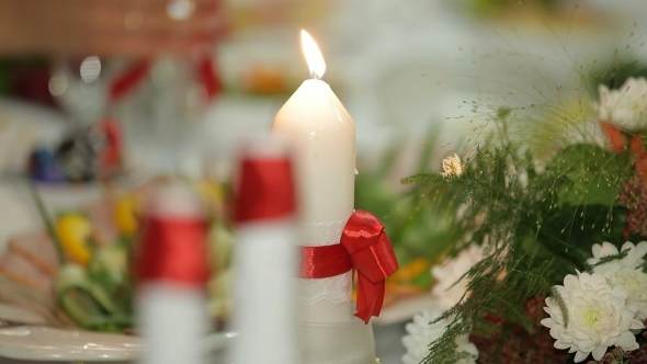 Candles On A Festive Table