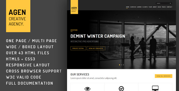 AGEN - One Page / Multi Page Responsive Template