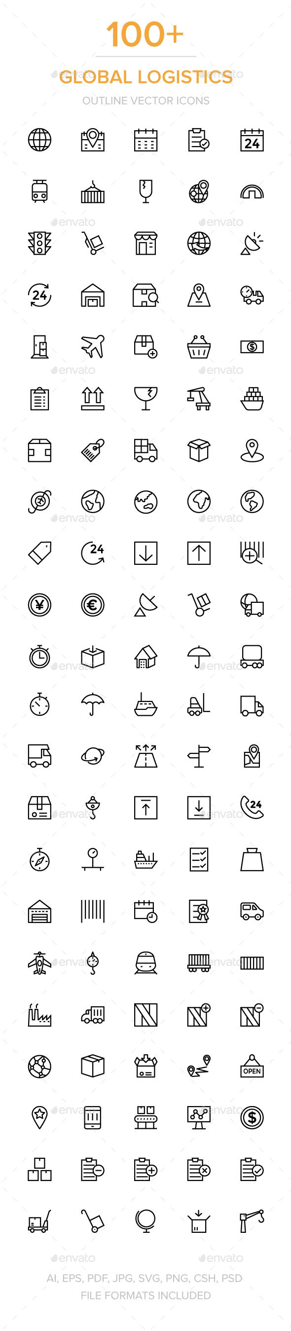 GraphicRiver 100& Global Logistics Vector Icons 11930006