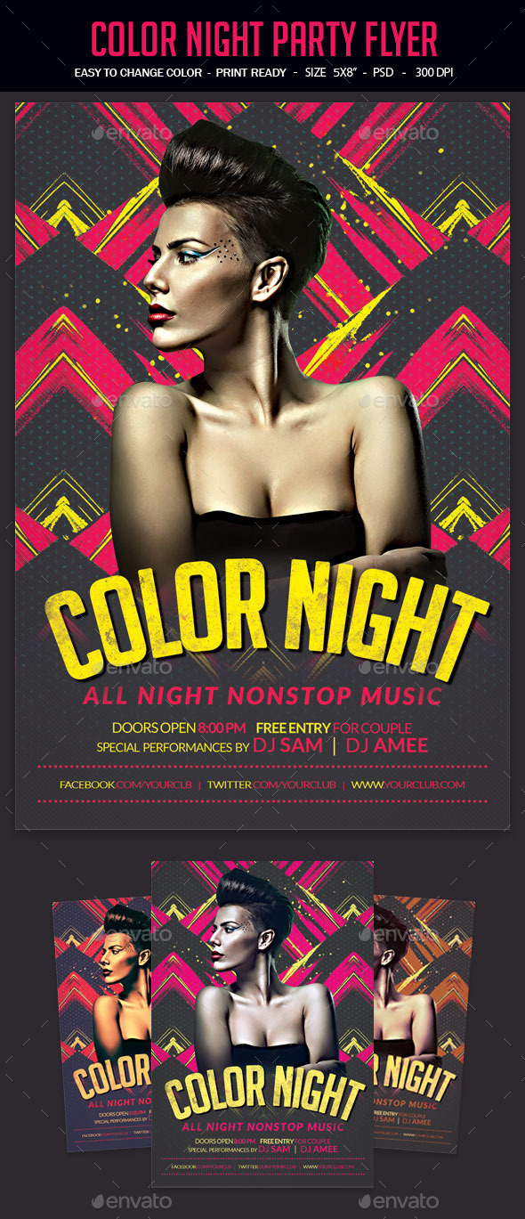 GraphicRiver Color Night Party Flyer 11930252