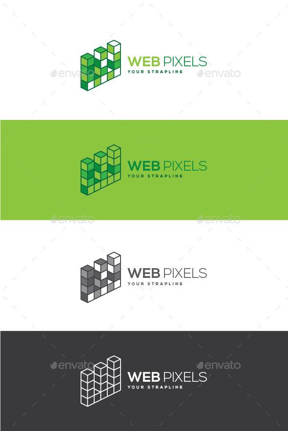 GraphicRiver Web Pixels Letter W Logo 11930760