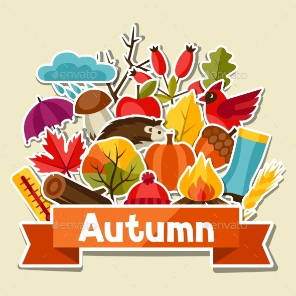 GraphicRiver Background Design with Autumn Sticker Icon 11930818