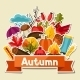 Background Design with Autumn Sticker Icon - GraphicRiver Item for Sale