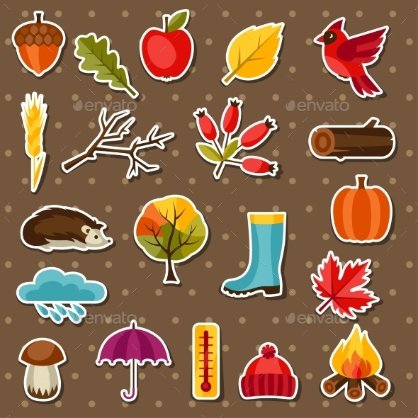 GraphicRiver Autumn Sticker Icon and Objects Set for Design 11930853