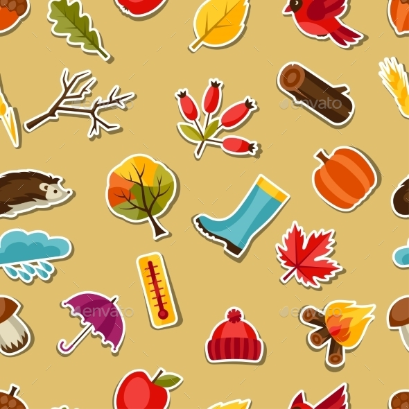 GraphicRiver Seamless Pattern eith Autumn Sticker Icons 11930856