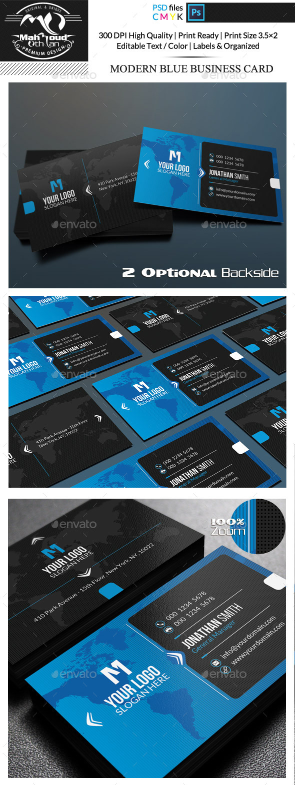 GraphicRiver Modern Blue Business Card 11931086