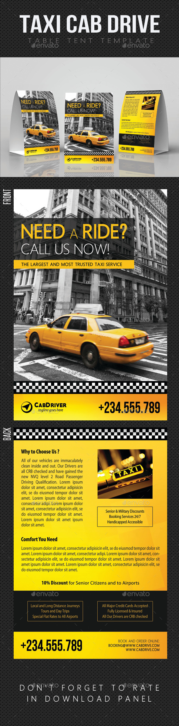 GraphicRiver Taxi Cab Drive Table Tent V01 11931146