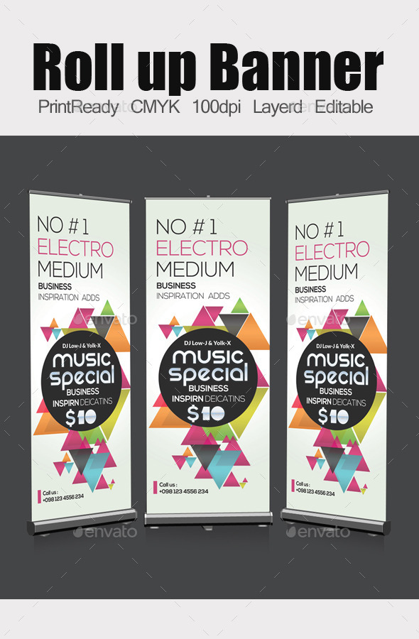 GraphicRiver Electro Futuristic Roll Up Banners Template 11931155