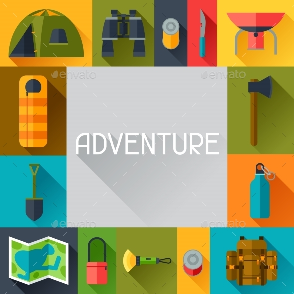GraphicRiver Tourist Background with Camping Equipment 11931177