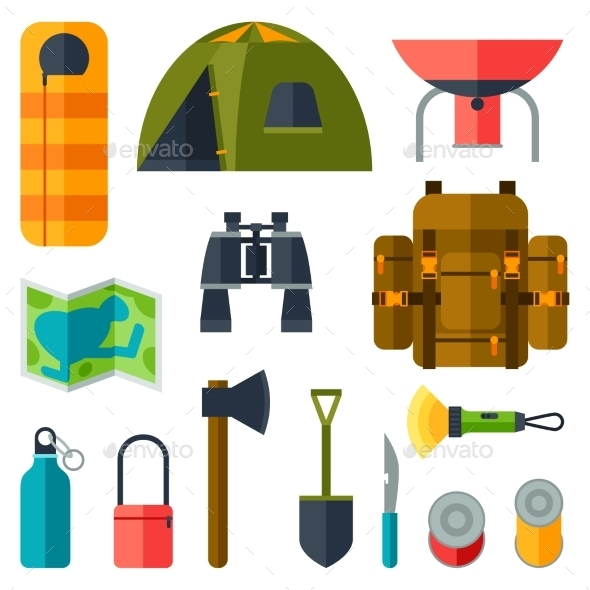 GraphicRiver Tourist Set of Camping Equipment Icons 11931179