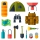 Tourist Set of Camping Equipment Icons - GraphicRiver Item for Sale