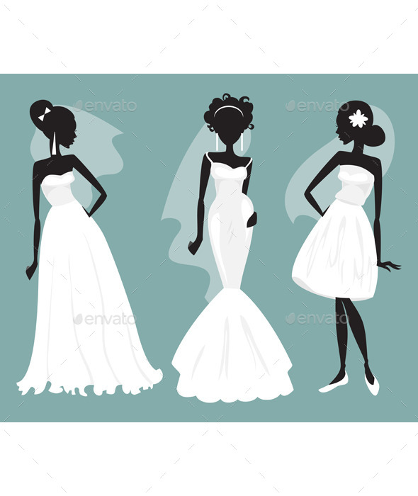 GraphicRiver Set Brides in Various Wedding Dresses 11932029