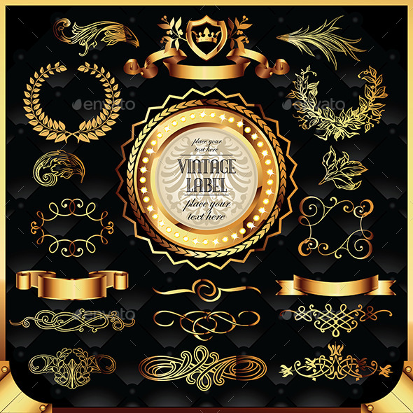 GraphicRiver Set of Golden Labels and Ornaments 11932154