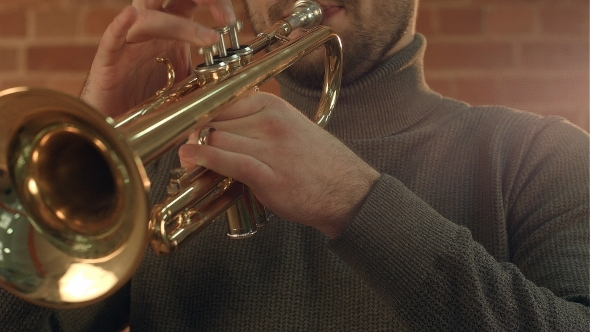 Hands Of An Musician Playing The Trumpet