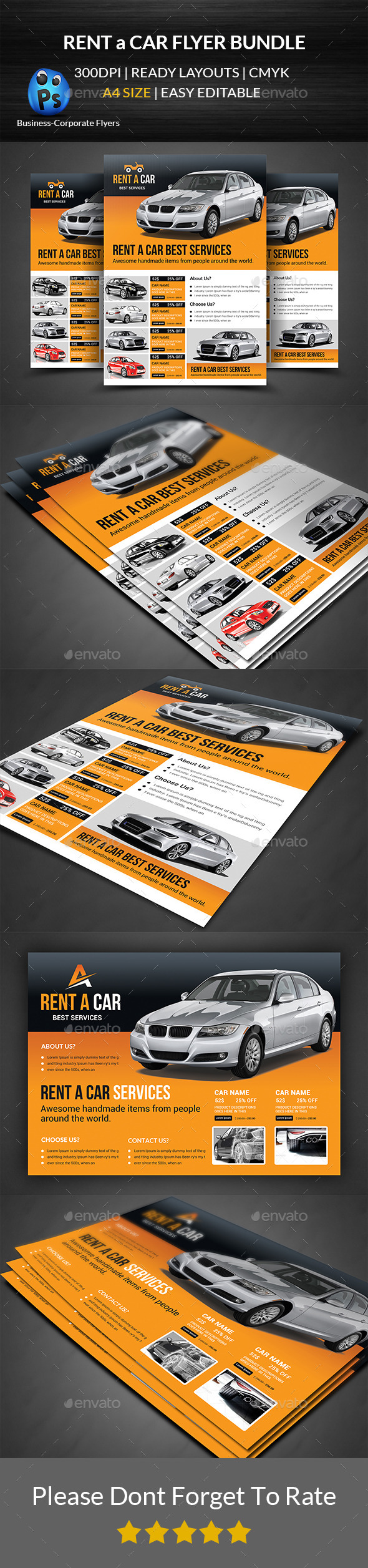 GraphicRiver Rent a Car Flyer Bundle 11932210