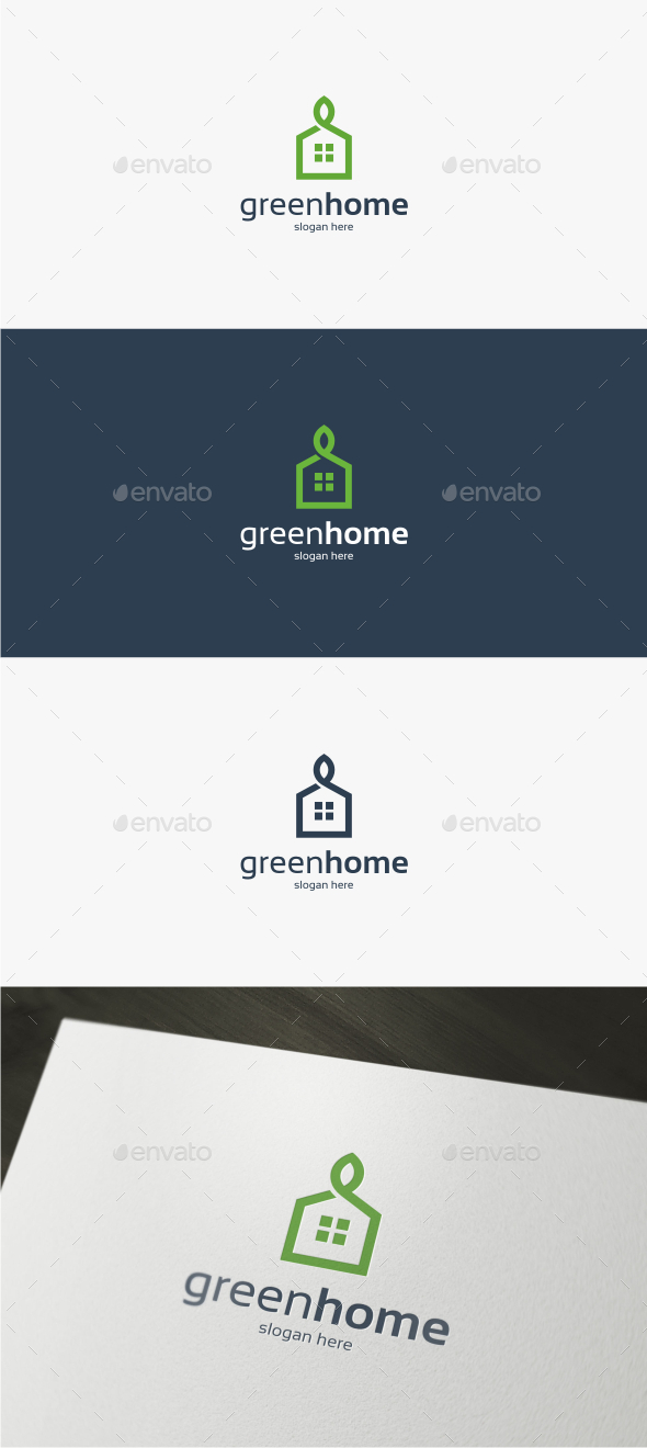 GraphicRiver Green Home Logo Template 11932348
